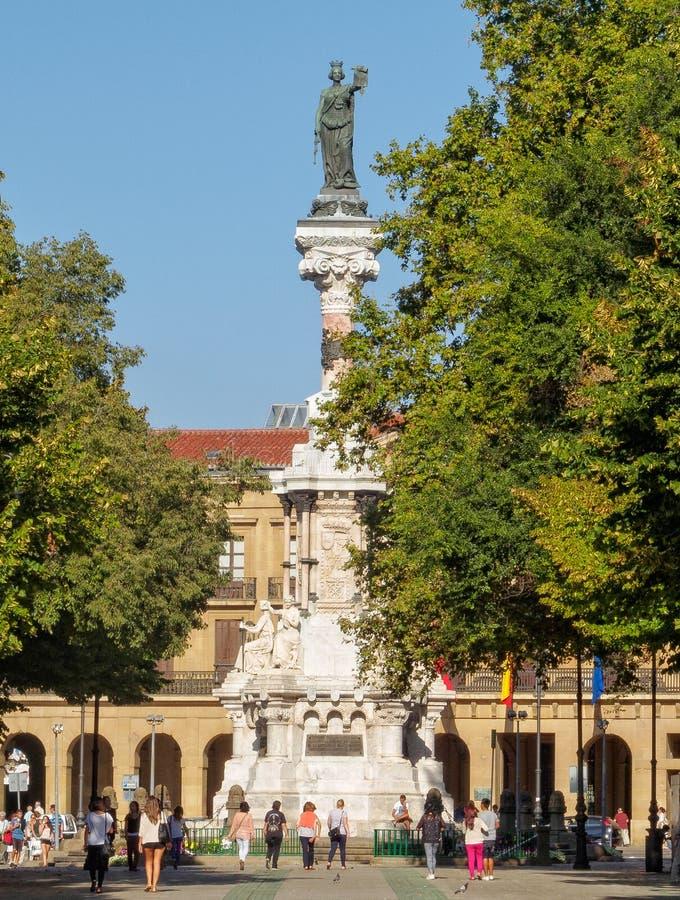 Monument to the Fueros de Navarre - Pamplona. Monument to the Fueros de Navarre by Manuel Martínez de Ubago (1903) commemorates the defence of the stock photo