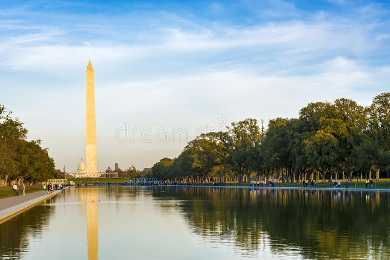 The monument to George Washington and the National Mall in Washington D.C. royalty free stock photo
