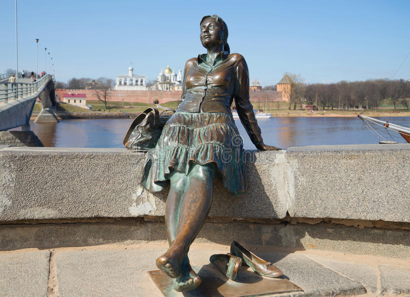 Monument to the girl-tourist close-up. Veliky Novgorod stock images