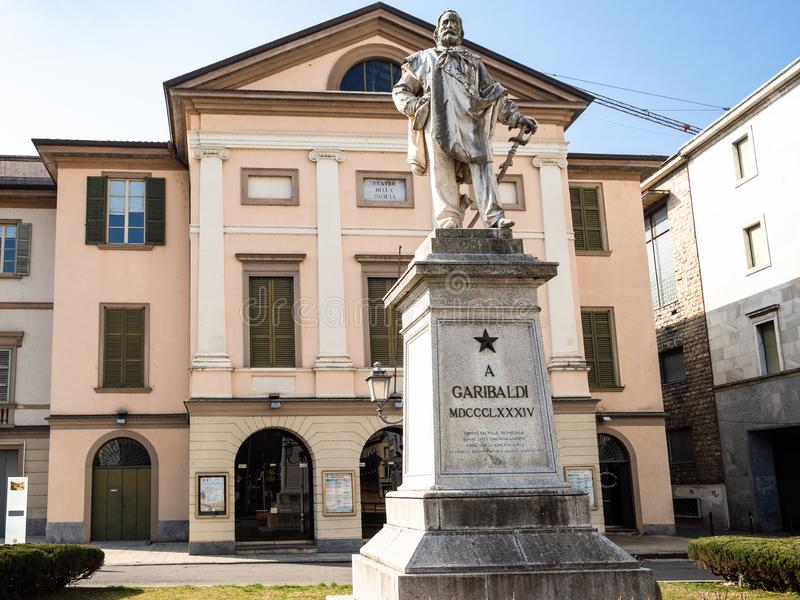Monument to Giuseppe Garibaldi in Lecco city stock photos