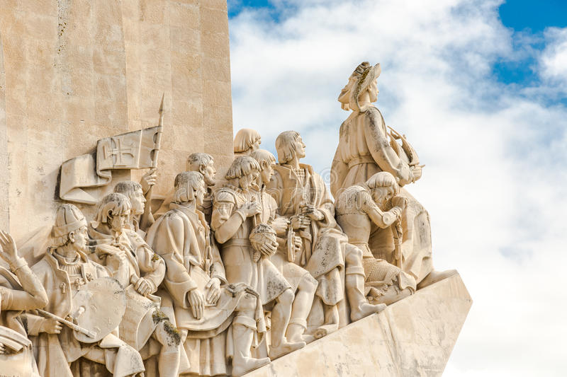 Monument to the great Portuguese travelers in Lisbon. Padrão dos Descobrimentos. Monument to the great Portuguese travelers in Lisbon. The monument was stock photos