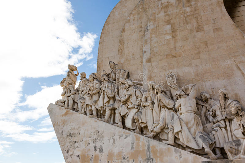 Monument to the great Portuguese travelers in Lisbon. Padrão dos Descobrimentos. Monument to the great Portuguese travelers in Lisbon. The monument was royalty free stock photography