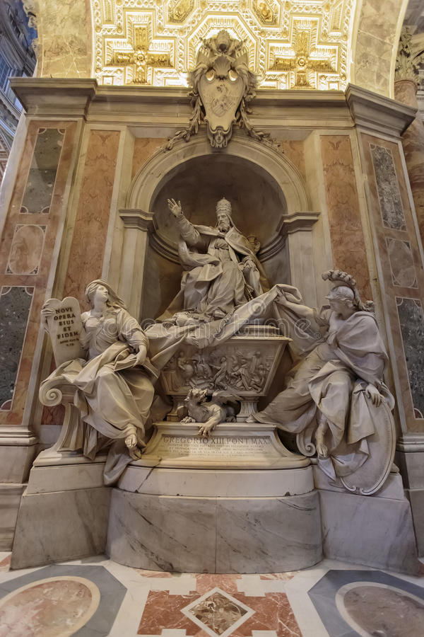 Monument to Gregory XIII in Vatican stock photography