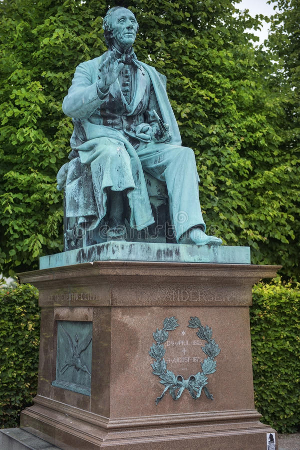 Monument to Hans Christian Andersen in Kings Garden in Copenhagen. Monument of Hans Christian Andersen in Kings Garden in the center of Copenhagen on Juny 26 royalty free stock photography