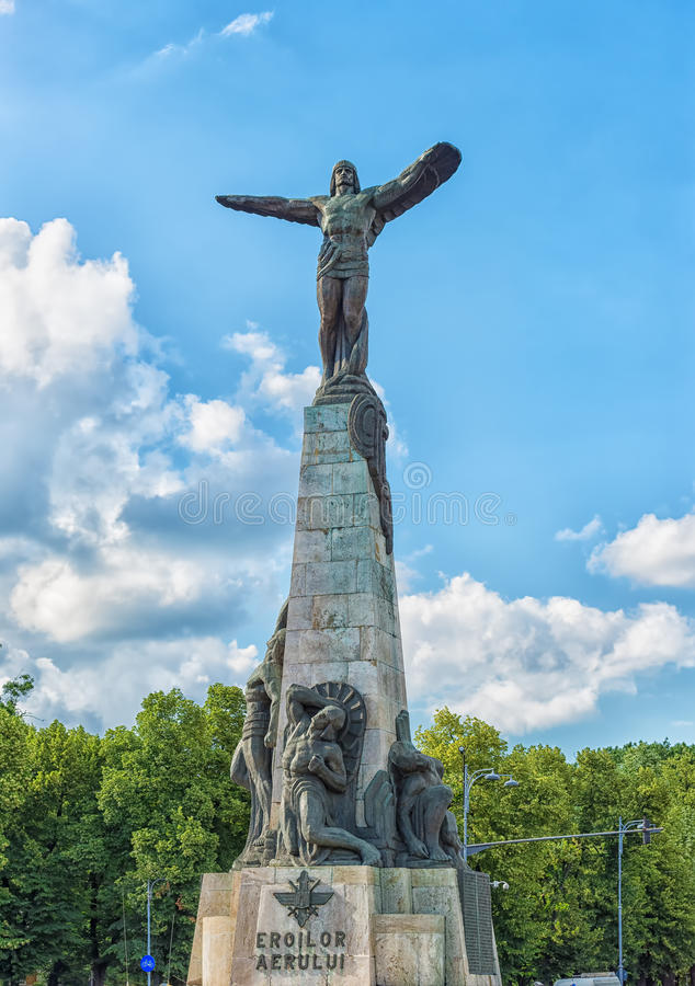 The Monument to the Heroes of the Air in Bucharest, Romania. Bucharest, Romania - June 02, 2016: The Monument to the Heroes of the Air, located in the Aviators&# royalty free stock photos