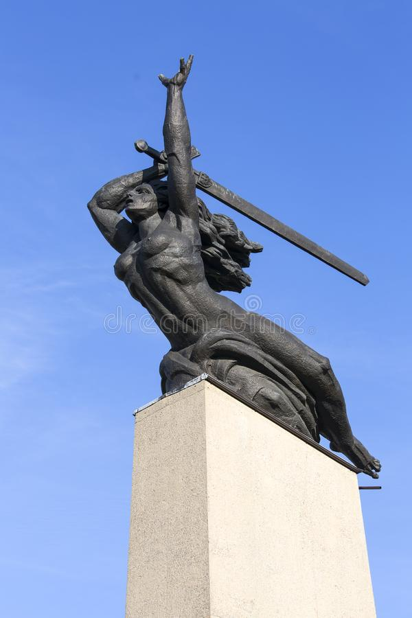 Monument to the Heroes of Warsaw, Warsaw Nike by sculptor Marian Konieczny, Warsaw, Poland stock image
