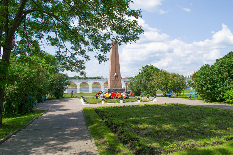 Monument to the heroes at Yaroslav's court stock photography