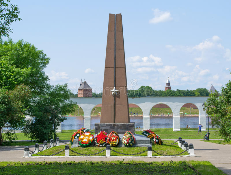 Monument to the heroes at Yaroslav's court royalty free stock photos