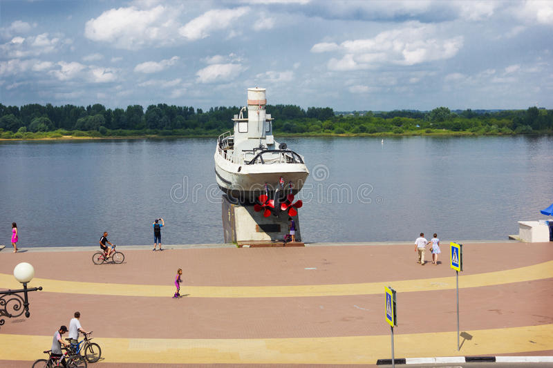 Monument to heroic ship on Volga river embankment in Nizhny Novgorod royalty free stock images