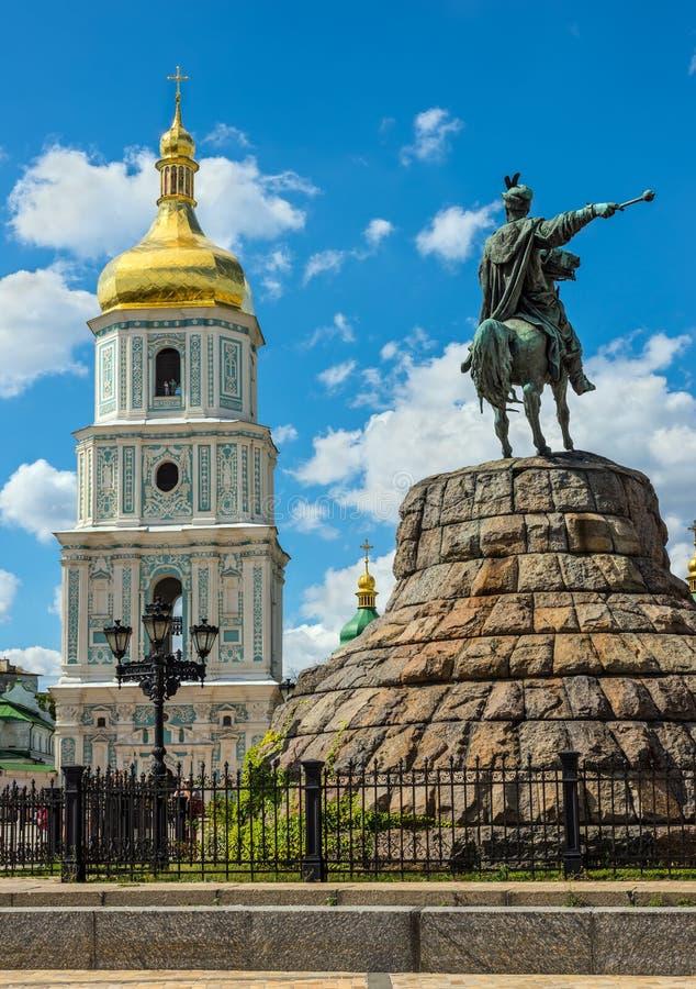 Monument to Hetman Bogdan Khmelnitsky and the bell tower of St. Sophia, Kyiv, Ukraine stock photo