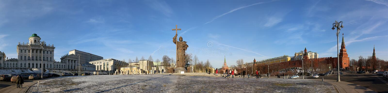 Monument to Holy Prince Vladimir the Great on Borovitskaya Square in Moscow near the Kremlin, Russia. royalty free stock image