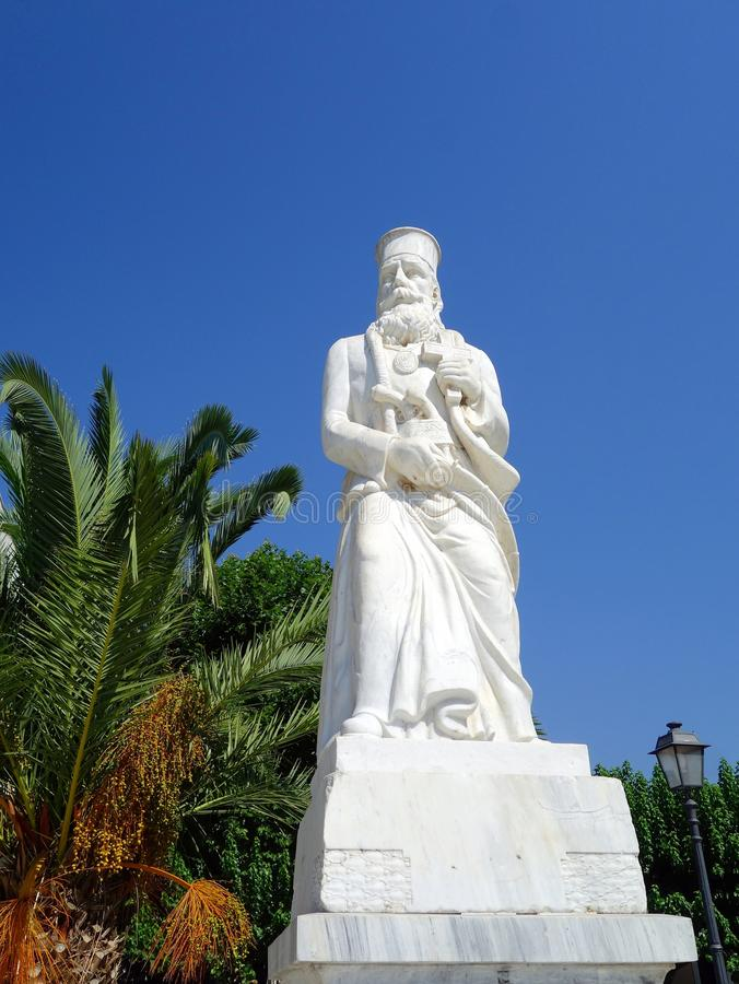 Monument to Isaiah Salona, Amfissa, Greece. Marble statue monument of Isaiah Salona, a Greek Orthodox Bishop killed in the 1821 Greek Independence Revolution, in stock images