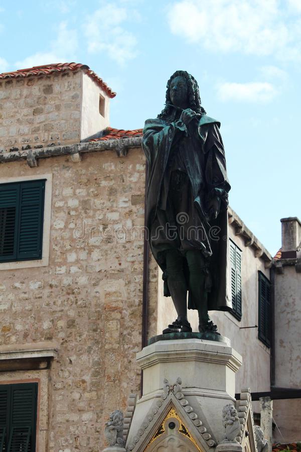 A monument to Ivan Gundulic, Croatian poet, in Old Town of Dubrovnik stock photo