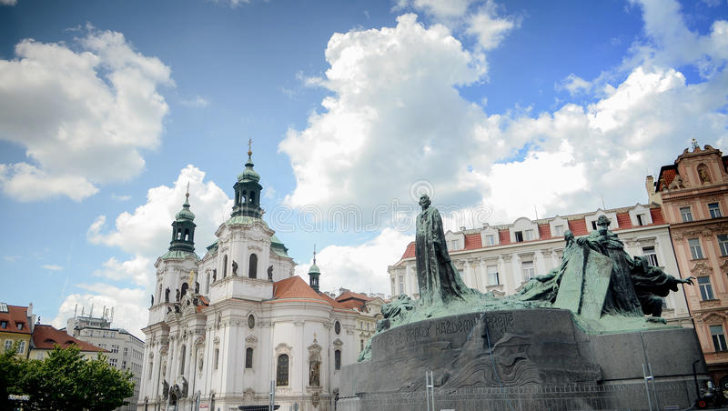 Monument to Jan Hus (John Huss)Old Town Square (Staromestske namesti),Prague,work of Ladislav Saloun, Czech. royalty free stock images