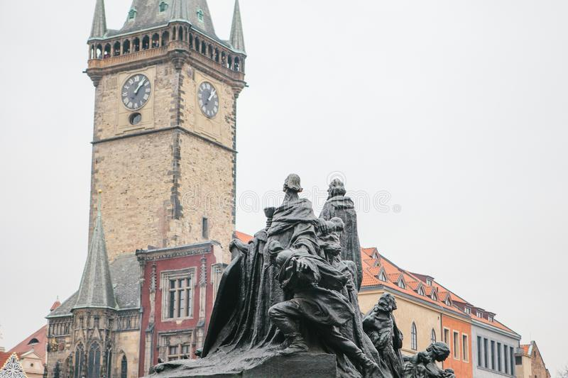 Monument to Jan Hus in the Old Town Square in Prague in the Czech Republic. Architecture. royalty free stock photos