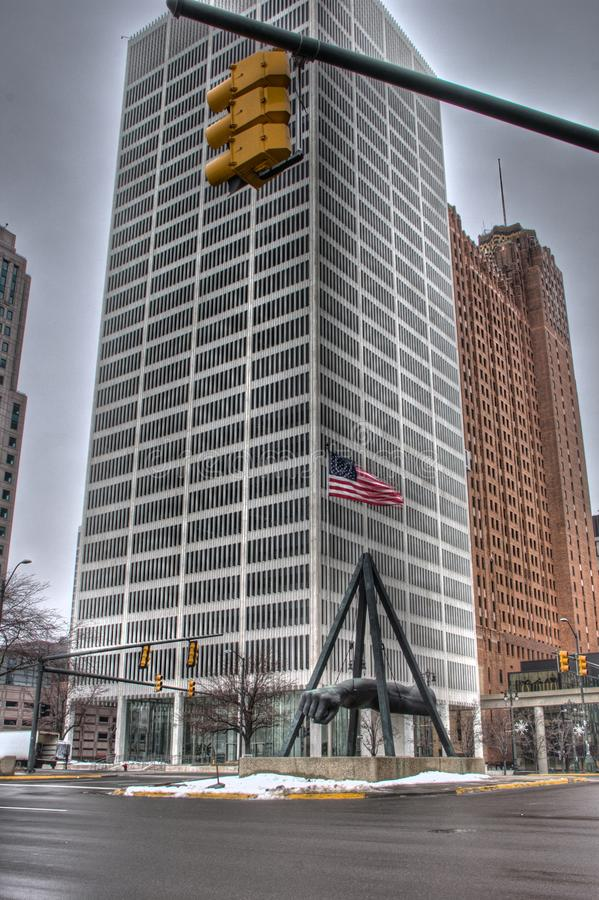 Monument to Joe Louis. In downtown Detroit Michigan royalty free stock photography