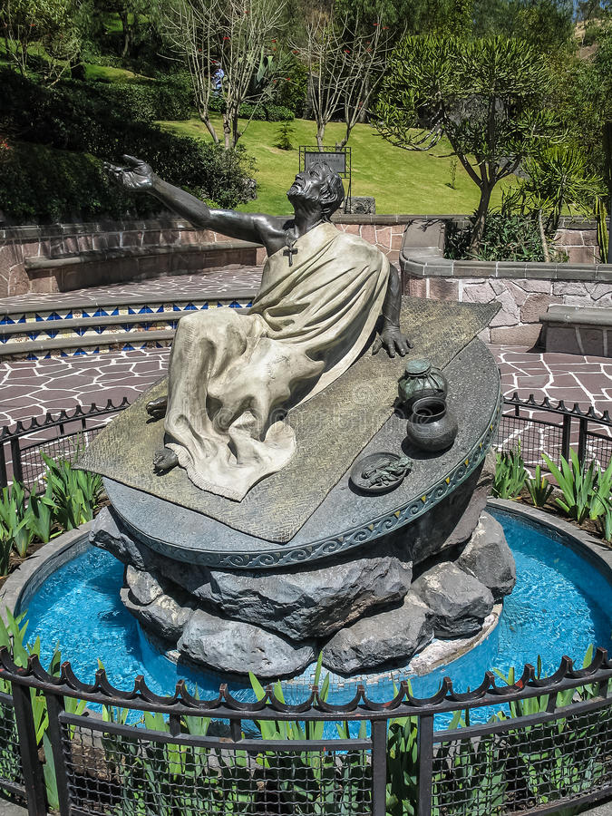 Monument to Juan Diego on the hill of Tepeyac, Mexico City, Mexico. Monument to Saint Juan Diego to whom Our Lady of Guadalupe is believed to have appeared royalty free stock image