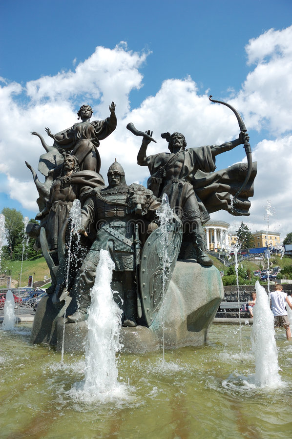 Monument to Kiev-City founders stock photo