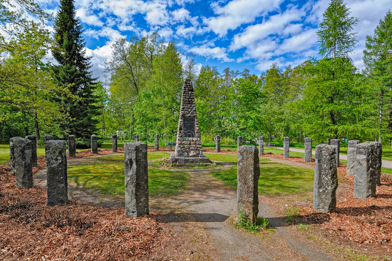 The monument to those killed in the wars in Vaaksy, Finland stock image
