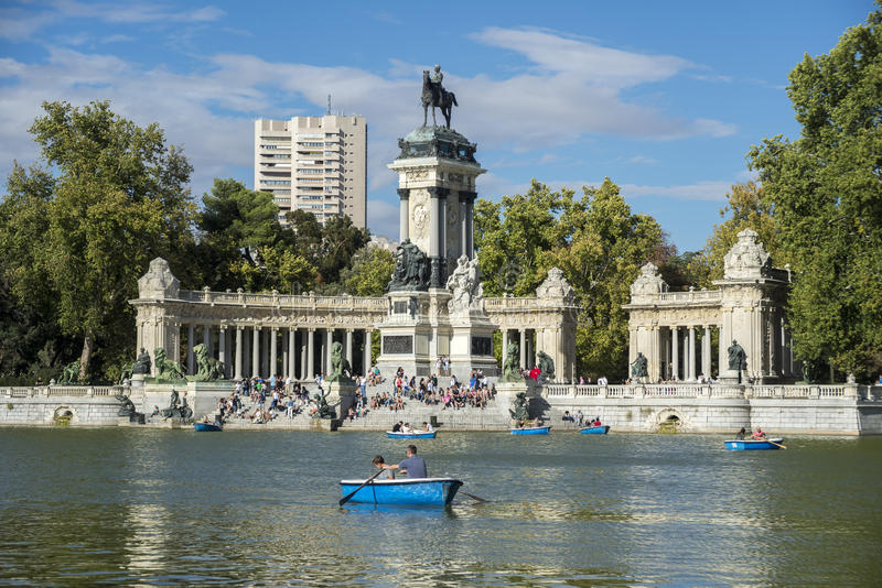 Monument to King Alfonso XII and pond. In Retiro Park, Madrid, Spain, on September 13, 2015 royalty free stock photos