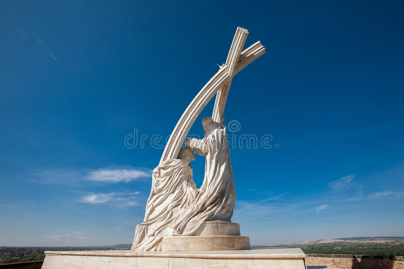 A monument to the King of Hungary in Esztergom stock images