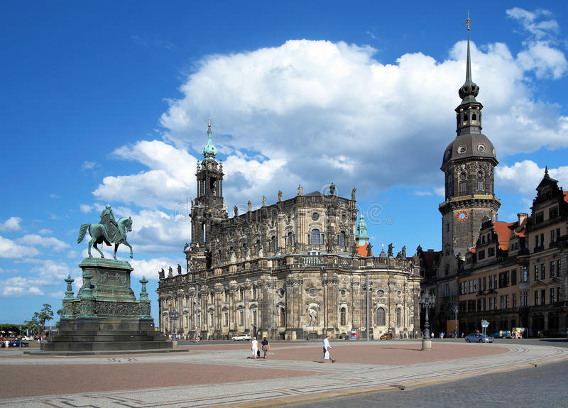 Monument to King John, Church and Dresden Castle. Monument to King John of Saxony, Catholic Church and Dresden Castle, Dresden, Germany stock photo