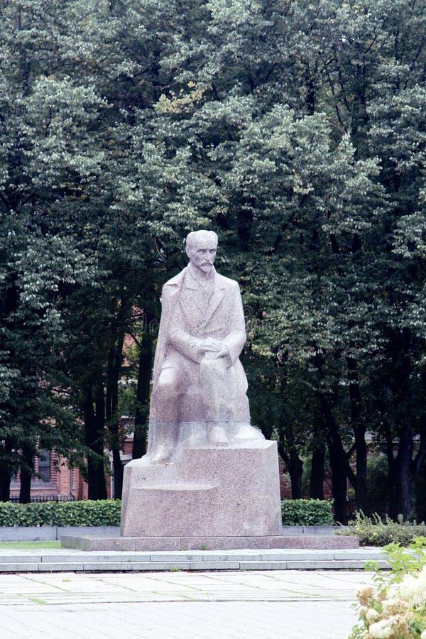 Monument to Latvian poet Janis Rainis. In Riga stock photo