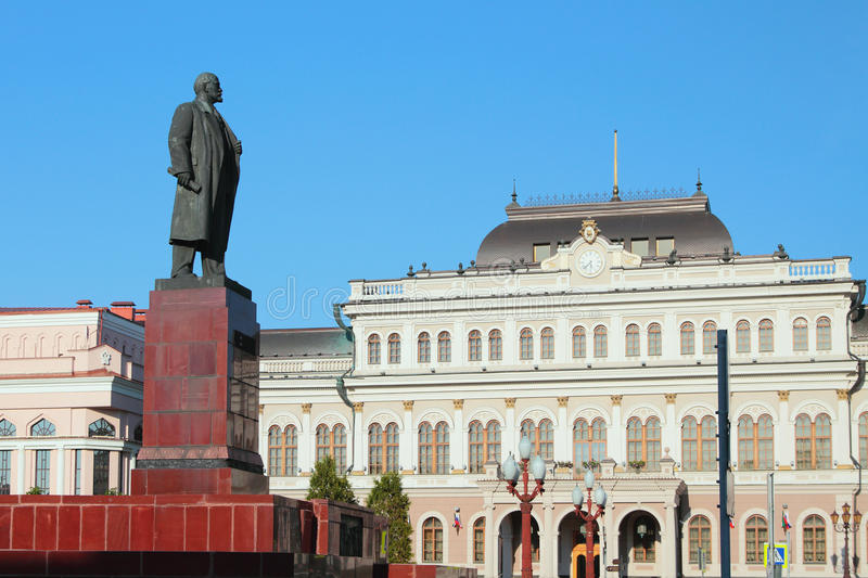 Monument to Lenin and city town hall. Kazan, Russia royalty free stock images