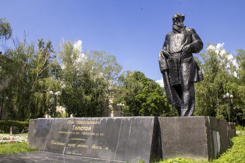Monument to Leo Tolstoy , Russian writer stock photo