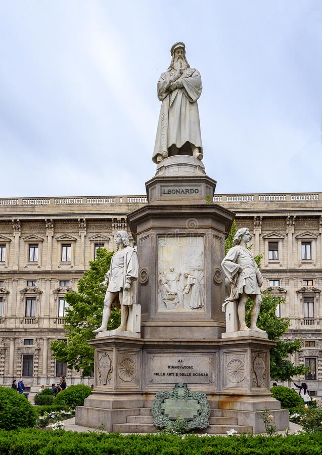 Monument to Leonardo Da Vinci in Piazza della Scala Square, Milan, Italy. Pictured is a monument to Leonardo Da Vinci in Piazza della Scala Square, Milan, Italy royalty free stock photos