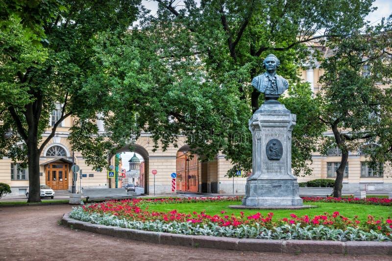 Monument to Lomonosov. In the Square of Lomonosov in St. Petersburg on the embankment of the Fontanka River royalty free stock image