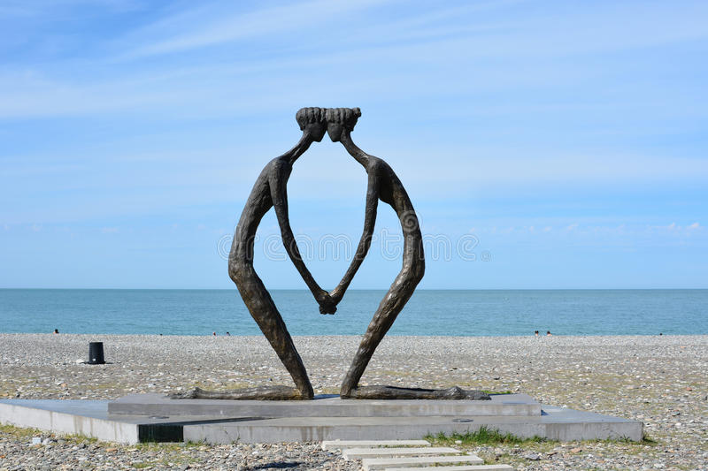 Monument to love in Batumi stock photography