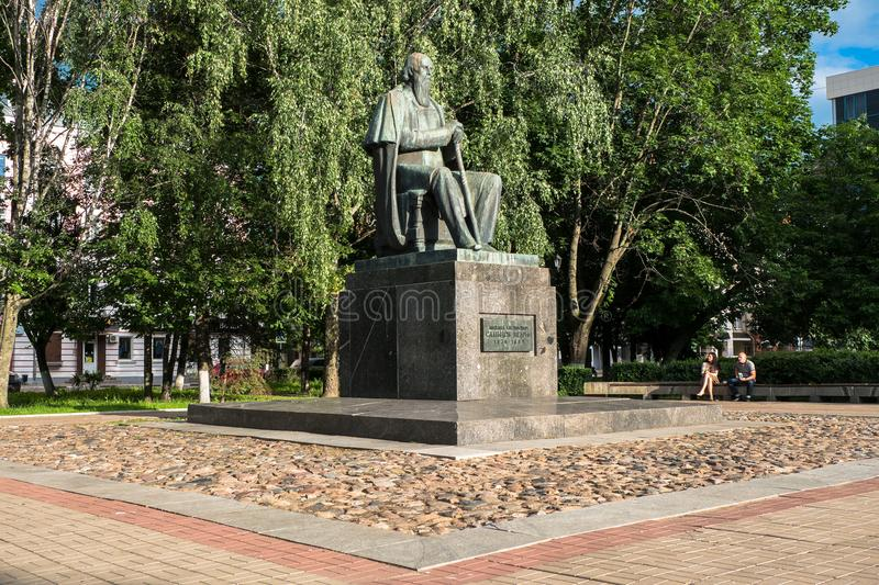 The monument to the major Russian satirist of the 19th century Saltykov-Shchedrin in the city of Tver, Russia. Mikhail Saltykov-Shchedrin born Saltykov stock image