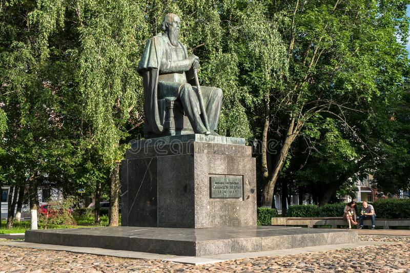 The monument to the major Russian satirist of the 19th century Saltykov-Shchedrin in the city of Tver, Russia. Mikhail Saltykov-Shchedrin born Saltykov stock photography