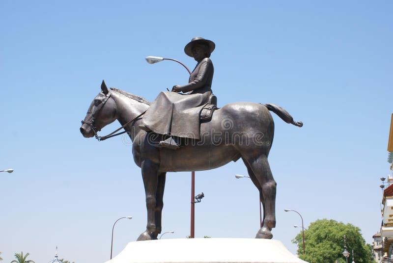 Monument to Maria de las Mercedes de Borbon, Seville. Equestrian statue of Princess Maria Mercedes of Bourbon-Two Sicilies, Infanta of Spain, Countess of stock photo