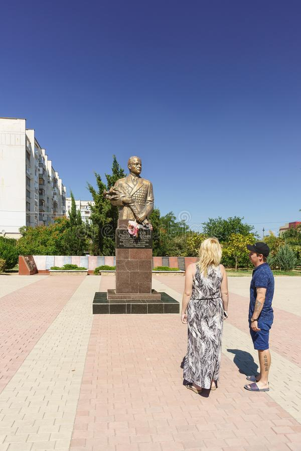 Monument to Marshal, Hero of the Soviet Union Sergei Leonidovich Sokolov in the Park of the same name on Pobedy Avenue in the city stock images