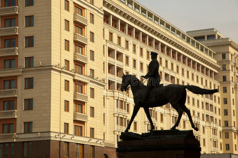 A monument to the marshal of the Soviet Union Georgy Zhukov stock images