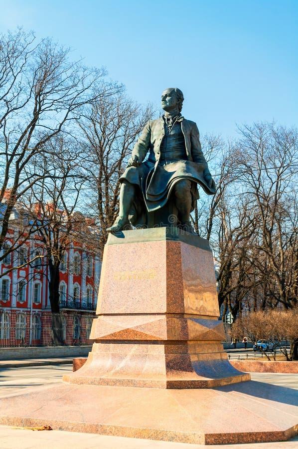 Monument to Mikhail Vasilyevich Lomonosov - famous Russian scientist, naturalist, poet. St Petersburg Russia. St Petersburg, Russia - April 5, 2019. Monument to stock image
