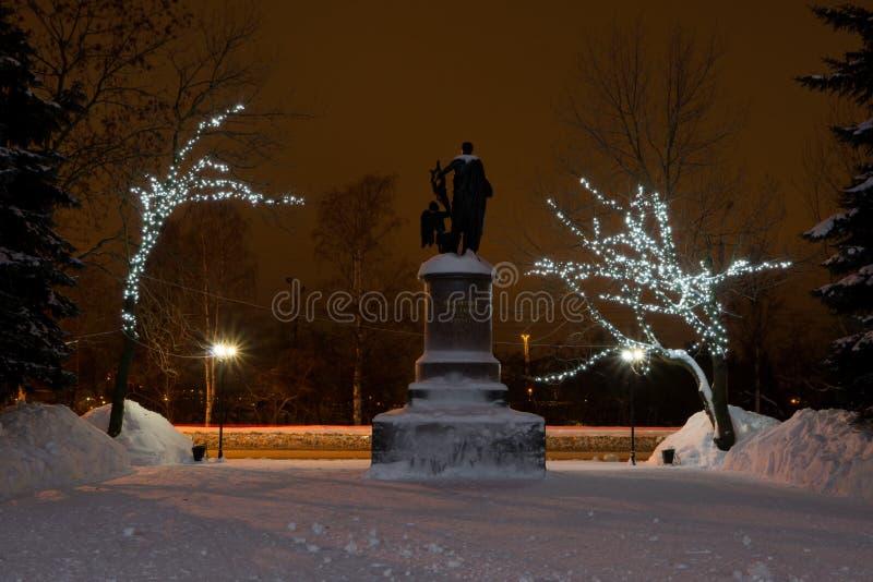 Monument to Mikhail Vasilyevich Lomonosov. Filmed at night near the Northern Arctic University in winter royalty free stock images