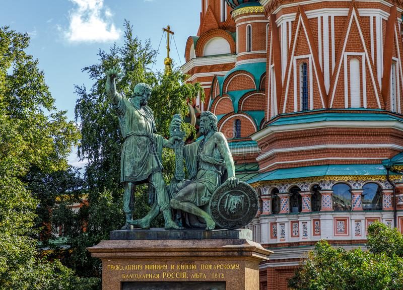 Monument to Minin and Pozharsky in front of Saint Basil`s Cathed royalty free stock image