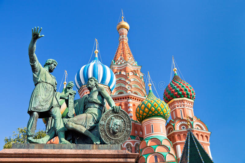 Monument to Minin and Pozharsky in Moscow stock images