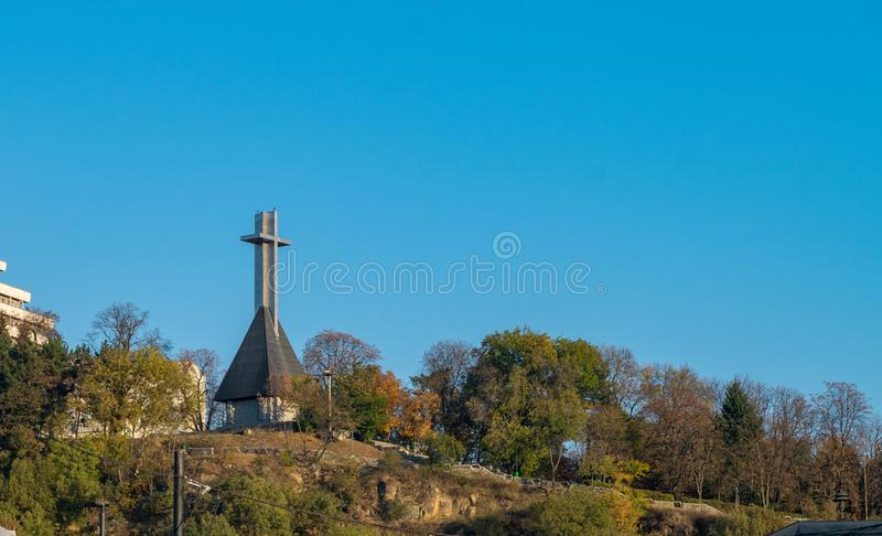 Monument to National Heroes in the shape of a Cross on the Cetatuia hill overlooking Cluj-Napoca, Romania stock image