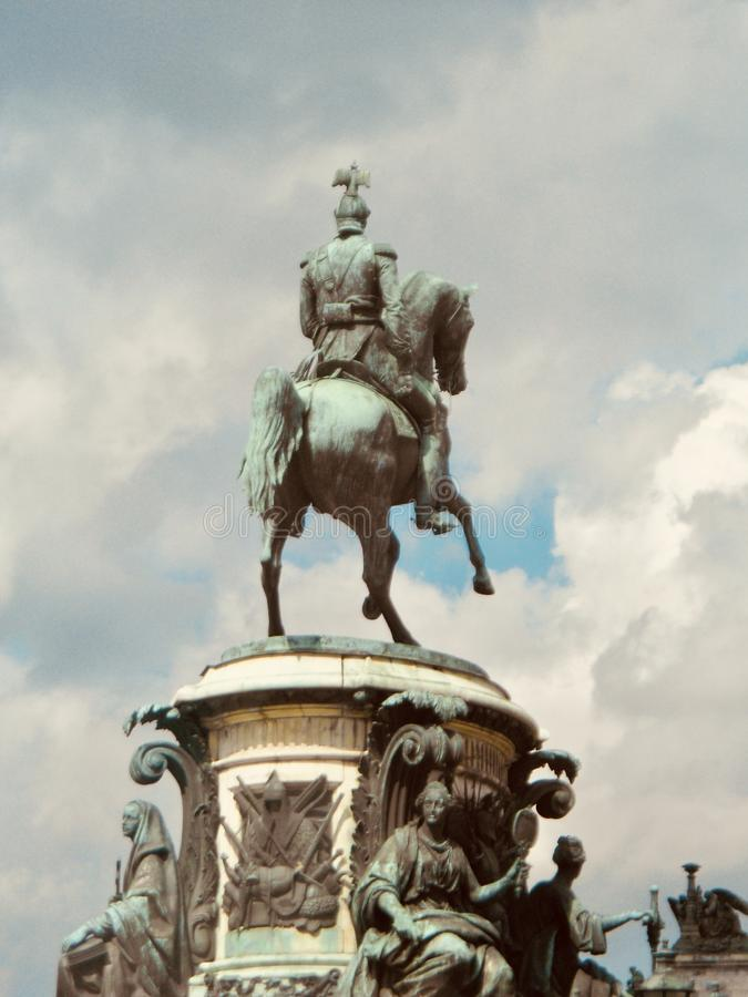 Monument to St. Nicolas I on St. Isaac`s Square in St. Petersburg, Russia stock photography