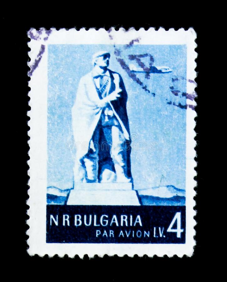 Monument to the Partisans of Sredna Gora, Landscapes and Building serie, circa 1954. MOSCOW, RUSSIA - JUNE 26, 2017: A stamp printed in Bulgaria shows Monument royalty free stock photos
