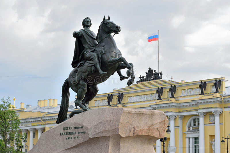 Monument to Peter the great bronze Horseman on the Senate square. In St. Petersburg on a cloudy summer day stock images