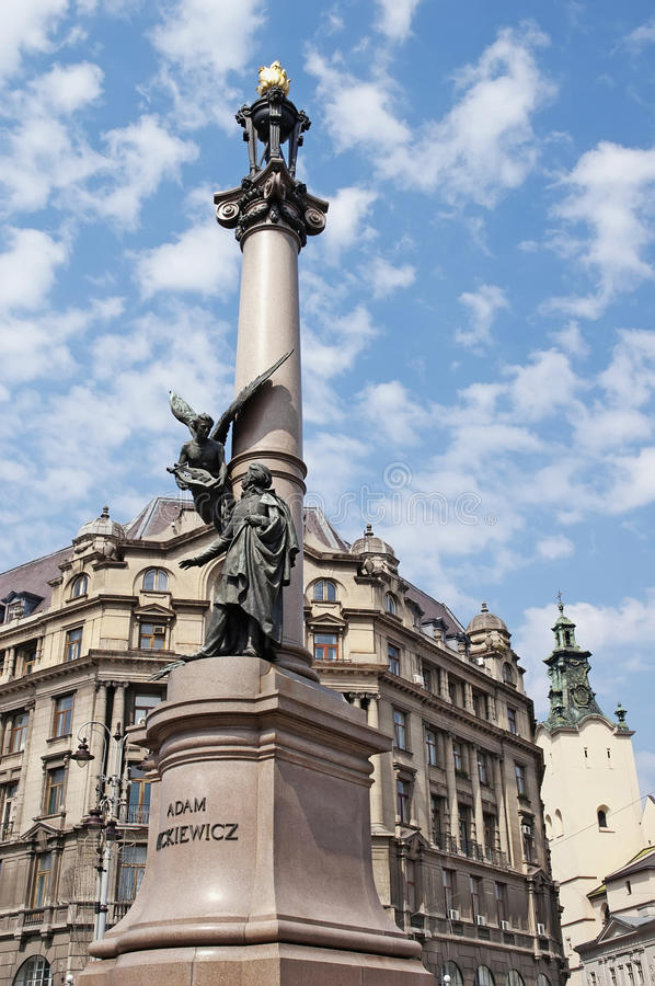 Monument To The Poet Mickiewicz In Lviv Royalty Free Stock Photo