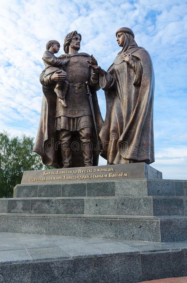 Monument to Prince Alexander Nevsky and his wife, Vitebsk, Belarus. VITEBSK, BELARUS - JULY 13, 2016: Monument to Prince Alexander Nevsky and his wife, Princess stock images