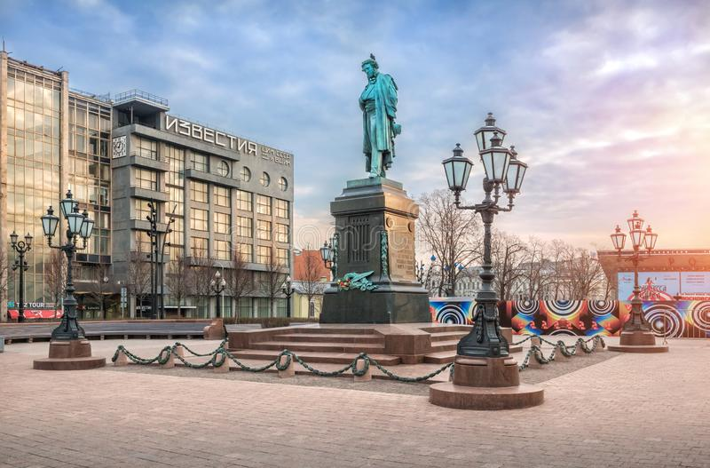 A monument to Pushkin on Pushkin Square in Moscow stock photo