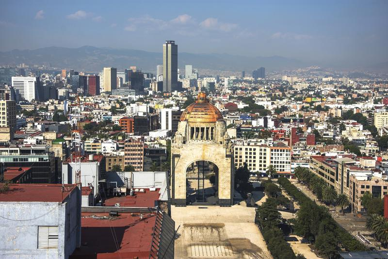 Monument to the Revolution, Tabacalera, Mexico capital city downtown. stock photo