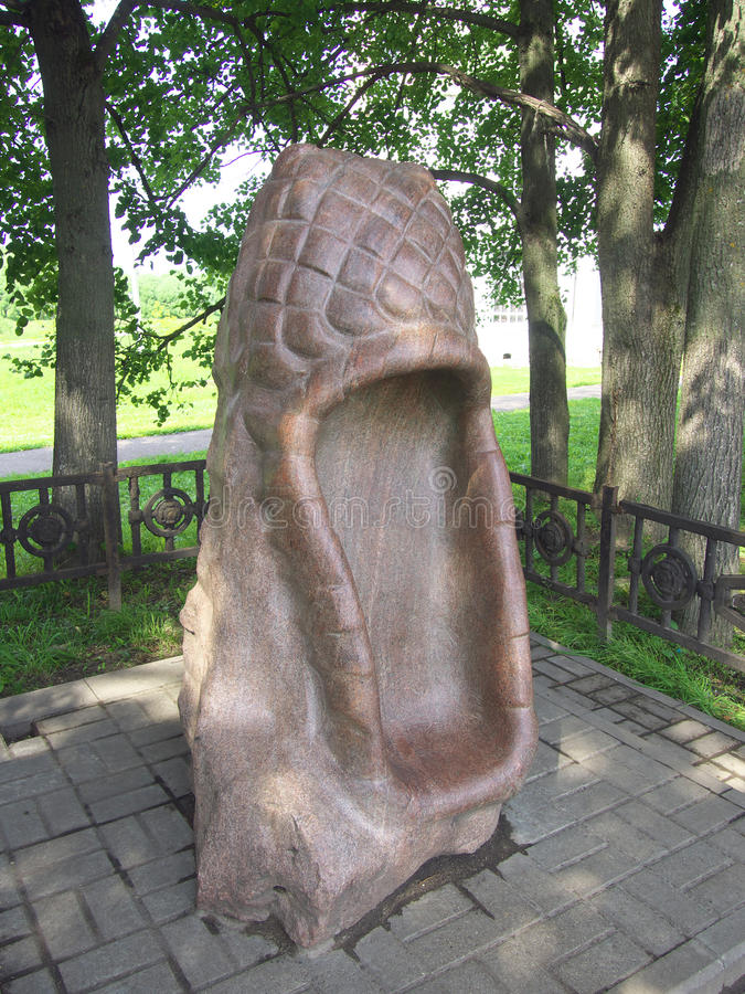 Monument to Russian bast shoes in the Soviet area of the city Vyazma royalty free stock images